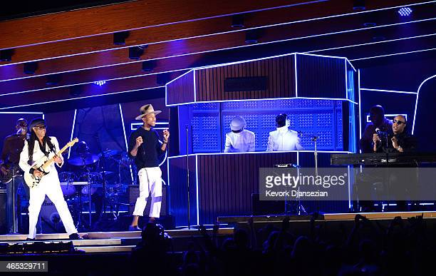 Musicians Nile Rodgers Pharrell Williams Thomas Bangalter and GuyManuel de HomemChristo of Daft Punk and Stevie Wonder perform onstage during the...