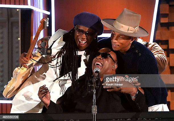 Musicians Nile Rodgers Stevie Wonder and Pharrell Williams perform onstage during the 56th GRAMMY Awards at Staples Center on January 26 2014 in Los...