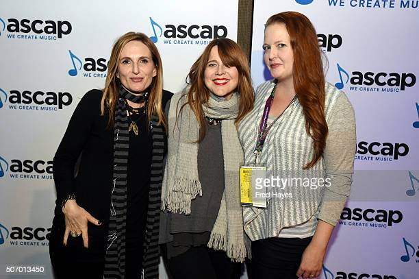 Musicians Nina Gordon and Louise Post of Veruca Salt and ASCAP Director of Film TV/New Media Jennifer Harmon attend the ASCAP Composer Cocktail Party...