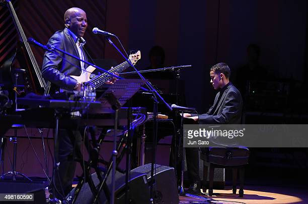 Musicians Noah East and Nathan East perform during Kawasaki Jazz on November 21 2015 in Kawasaki Japan