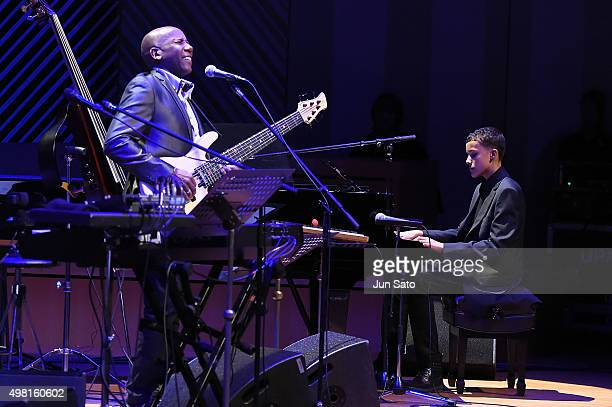 Musicians Noah East and Nathan East perform together during Kawasaki Jazz on November 21 2015 in Kawasaki Japan