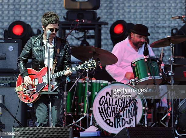 Musicians Noel Gallagher and Jeremy Stacey of Noel Gallagher's High Flying Birds perform onstage during day 2 of the 2012 Coachella Valley Music Arts...