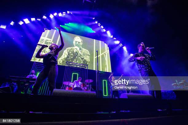 Musicians Noelle Scaggs and Michael Fitzpatrick of Fitz The Tantrums perform on stage at Mattress Firm Amphitheatre on September 1 2017 in Chula...