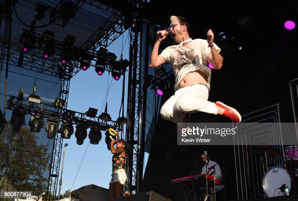 Musicians Noelle Scaggs Jeremy Ruzumna and Michael Fitzpatrick of musical group Fitz and The Tantrums performs on The Oak stage during Arroyo Seco...
