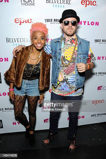 Musicians Novena Carmel and Ricky Reed of Wallpaper arrive at the NYLON Magazine June/July Music Issue Launch Party With Shirley Manson at The Roxy...