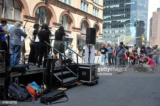 Musicians of Mass Appeal Klezmer perform at Astor Place during Make Music Day 2015 on June 21 2015 in New York City