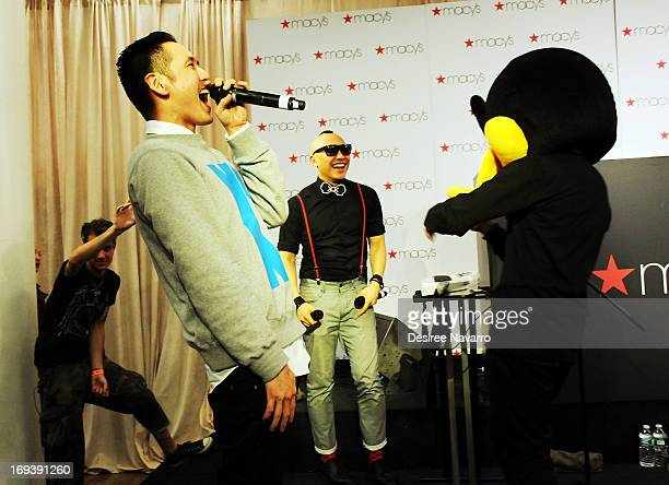 Musicians of the band Far East Movement Kev Nish and Prohgress perform at Macy's And The Far East Movement Celebrate AsianPacific Heritage Month at...