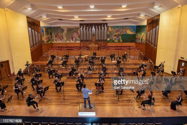 Musicians of the Basque Symphony Orchestra rehearses before the concert that will be broadcast by public television on May 28 2020 in San Sebastian...