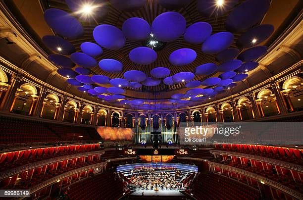 Musicians of The West-Eastern Divan youth orchestra, conducted by Daniel Barenboim rehearse in the Royal Albert Hall ahead of their performace in the...