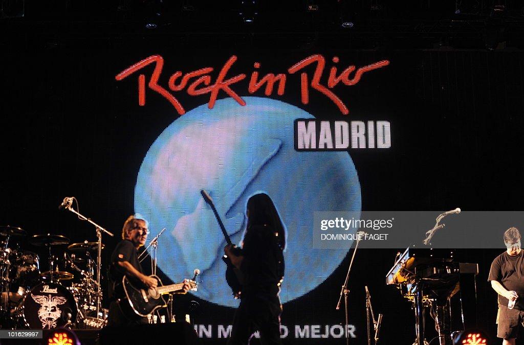 Musicians of US singer Jon Bon Jovi perform during the 'Rock in Rio' music festival in Arganda del Rey near Madrid on June 4, 2010.