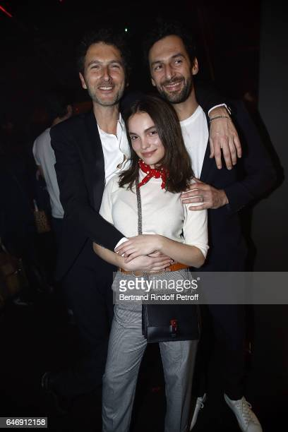 Musicians Olivier Coursier and Simon Buret and Actress Lola Lelann attend Yves Saint Laurent Beauty Party as part of the Paris Fashion Week...