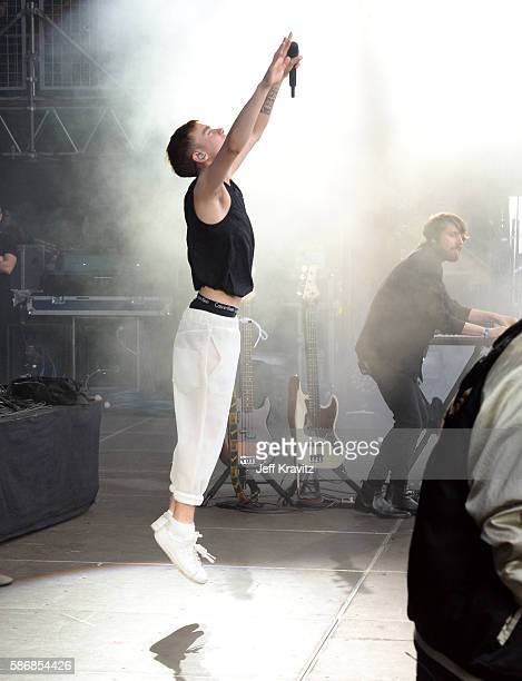Musicians Olly Alexander and Mikey Goldsworthy of Years Years perform on the Lands End Stage during the 2016 Outside Lands Music And Arts Festival at...