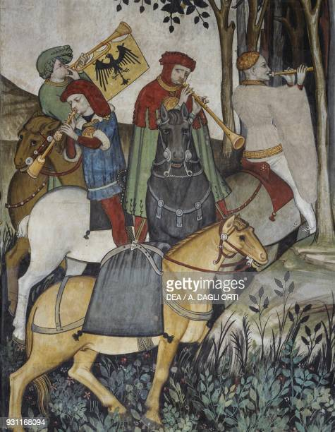 Musicians on horseback near the Fountain of Youth detail from the Fountain of Youth fresco in the Baronial Hall Castle of Manta Saluzzo Piedmont...