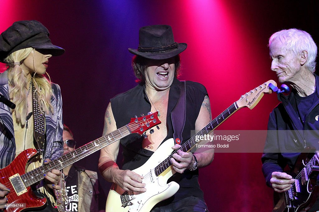 Musicians Orianthi, Richie Sambora and Robby Krieger perform on stage during the Medlock Krieger Celebrity Golf Invitational 2015 - All Star Concert held at Moorpark Country Club on October 5, 2015 in Moorpark, California.