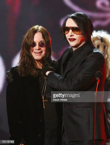 Musicians Ozzy Osbourne accepts the Scream Rock Immortal award from Marilyn Manson onstage during Spike TV's Scream Awards 2006 at the Pantages...