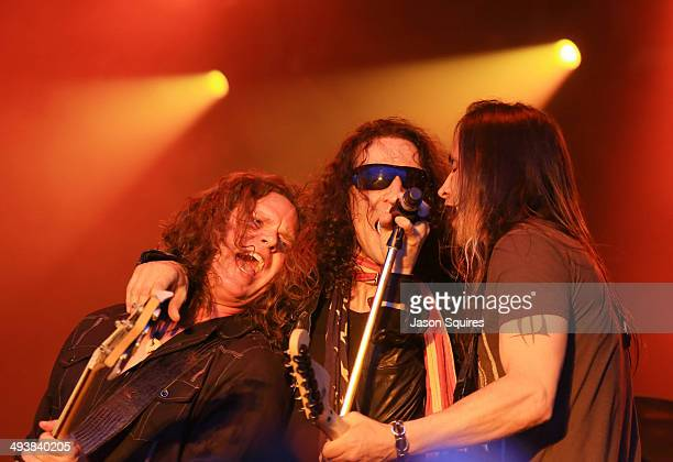 Musicians Pat Badger Gary Cherone and Nuno Bettencourt of Extreme perform during Rocklahoma on May 25 2014 in Pryor Oklahoma