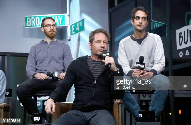 Musicians Pat McCusker David Duchovny and Sebastian Modak attend the Build Series to discuss to discuss 'Every Third Thought' at Build Studio on...