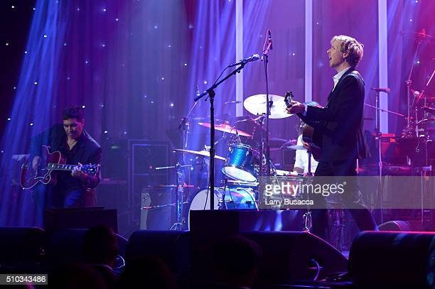 Musicians Pat Smear and Beck perform onstage during the 2016 PreGRAMMY Gala and Salute to Industry Icons honoring Irving Azoff at The Beverly Hilton...
