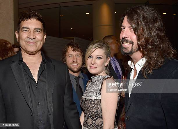 Musicians Pat Smear and Chris Shiflett Cara Shiflett and musician Dave Grohl attend the 2016 PreGRAMMY Gala and Salute to Industry Icons honoring...