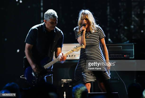 Musicians Pat Smear and Kim Gordon perform onstage at the 29th Annual Rock And Roll Hall Of Fame Induction Ceremony at Barclays Center of Brooklyn on...