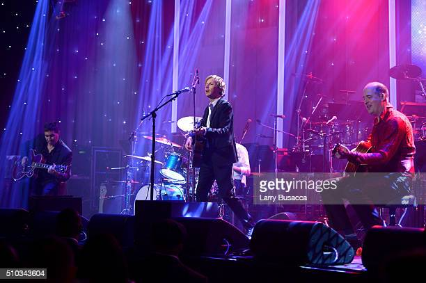 Musicians Pat Smear Beck and Krist Novoselic perform onstage during the 2016 PreGRAMMY Gala and Salute to Industry Icons honoring Irving Azoff at The...
