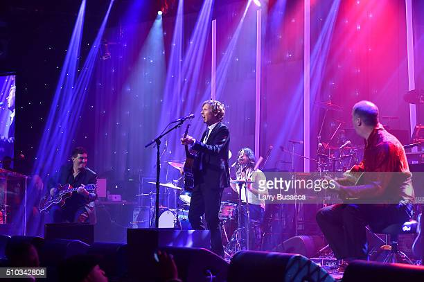 Musicians Pat Smear Beck Dave Grohl and Krist Novoselic perform onstage during the 2016 PreGRAMMY Gala and Salute to Industry Icons honoring Irving...