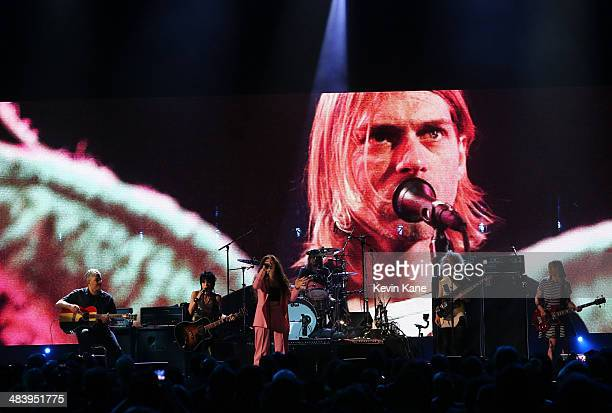 Musicians Pat Smear, Joan Jett, Lorde, St. Vincent, Dave Grohl and Kim Gordon perform onstage at the 29th Annual Rock And Roll Hall Of Fame Induction...