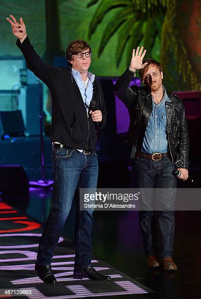 Musicians Patrick Carney and Dan Auerbach of The Black Keys attend Che Tempo Che Fa' Tv Show on April 27 2014 in Milan Italy