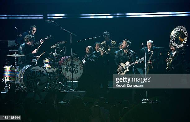 Musicians Patrick Carney and Dan Auerbach of the Black Keys perform with the Preservation Hall Jazz Band onstage at the 55th Annual GRAMMY Awards at...