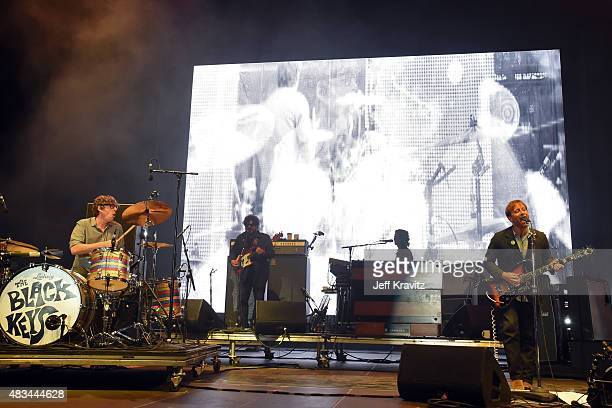 Musicians Patrick Carney and Dan Auerbach of The Black Keys perform at the Lands End Stage during day 2 of the 2015 Outside Lands Music And Arts...