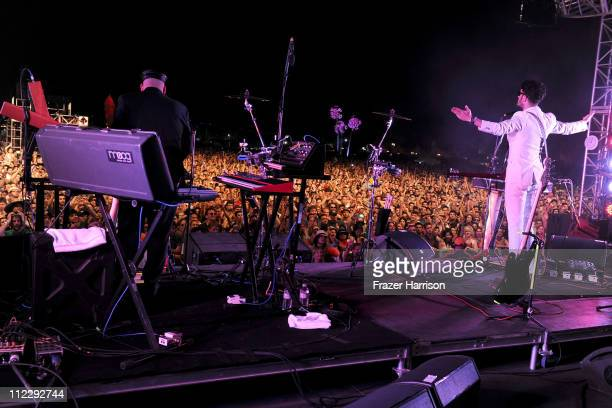 Musicians Patrick Gemayel and David Macklovitch of the band Chromeo perform during Day 3 of the Coachella Valley Music Arts Festival 2011 held at the...