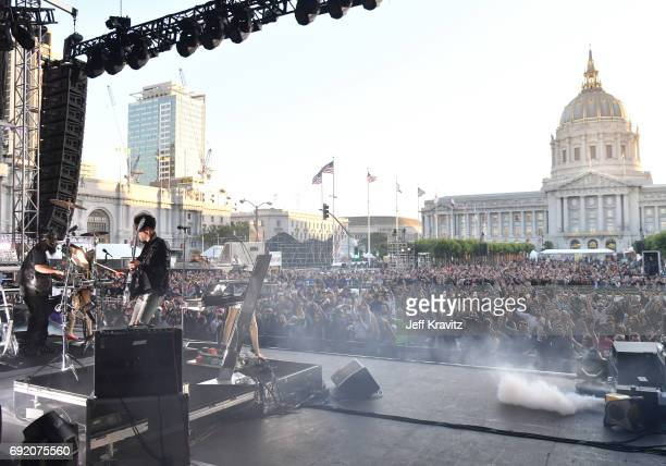 Musicians Patrick PThugg Gemayel left and David Dave 1 Macklovitch of Chromeo performs onstage at the Colossal Stage during Colossal Clusterfest at...