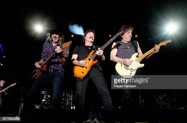 Musicians Patrick Simmons, Tom Johnston and John McFee of The Doobie Brothers perform onstage during 2016 Stagecoach California's Country Music...