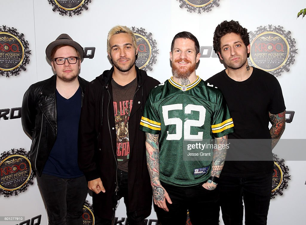 Musicians Patrick Stump, Pete Wentz, Andy Hurley and Joe Trohman of Fall Out Boy attend 106.7 KROQ Almost Acoustic Christmas 2015 at The Forum on December 13, 2015 in Los Angeles, California.