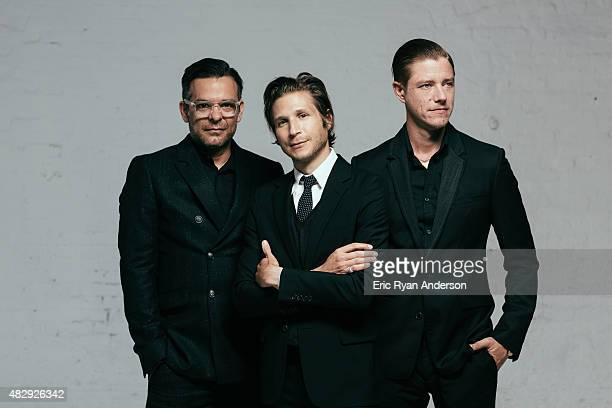 Musicians Paul Banks Daniel Kessler and Sam Fogarino of Interpol are photographed for Billboard Magazine on June 16 2014 in New York City