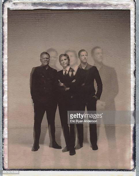 Musicians Paul Banks Daniel Kessler and Sam Fogarino of Interpol are photographed on polaroid film for Billboard Magazine on June 16 2014 in New York...