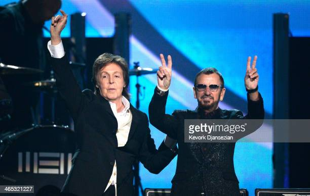 Musicians Paul McCartney and Ringo Starr of The Beatles perform onstage during the 56th GRAMMY Awards at Staples Center on January 26, 2014 in Los...