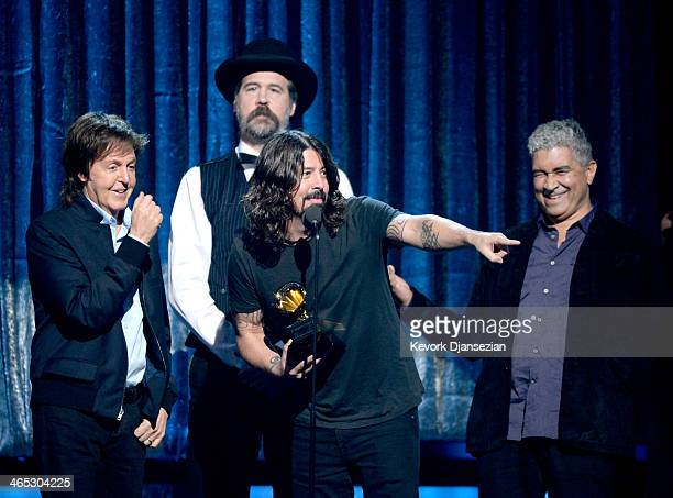 Musicians Paul McCartney Krist Novoselic Dave Grohl and Pat Smear accept the Best Rock Song award for 'Cut Me Some Slack' onstage during the 56th...