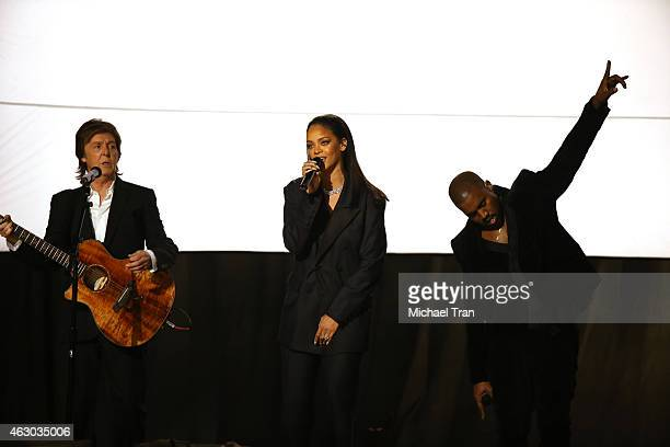 Musicians Paul McCartney Rihanna and Kanye West perform onstage during The 57th Annual GRAMMY Awards at STAPLES Center on February 8 2015 in Los...