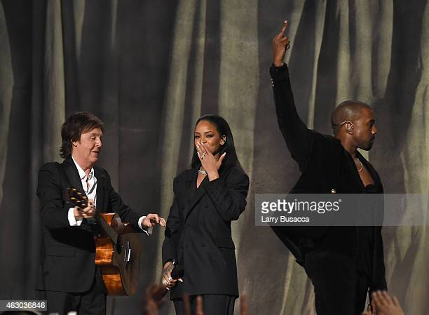 Musicians Paul McCartney Rihanna and Kanye West perform onstage during The 57th Annual GRAMMY Awards at the STAPLES Center on February 8 2015 in Los...