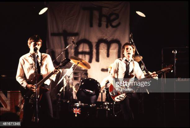 Musicians Paul Weller and Bruce Foxton of the group The Jam perform onstage Chicago Illinois May 26 1982