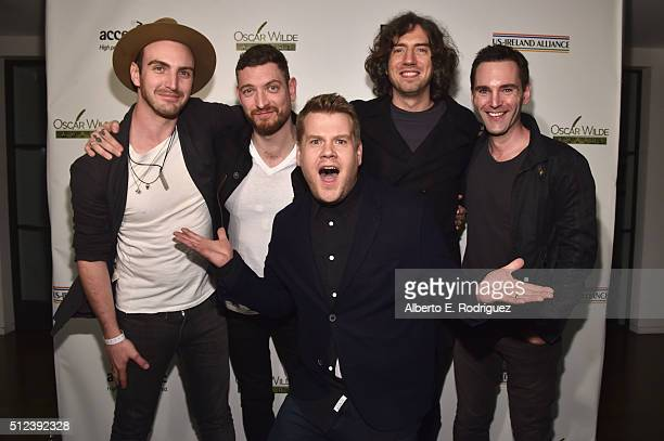 Musicians Paul Wilson, Nathan Connolly, Gary Lightbody,Johnny McDaid and actor James Corden attend the Oscar Wilde Awards at Bad Robot on February...