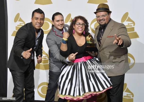 Musicians Pepe Carlos Alex Bendana La Marisoul and Miguel Ramirez winners of Best Latin Rock Urban or Alternative Album for 'Treinta Dias' pose in...