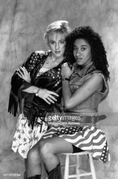 """Musicians Pepsi and Shirlie aka Helen DeMacque and """"nShirlie Holliman for a portrait session in 1986 in Los Angeles."""
