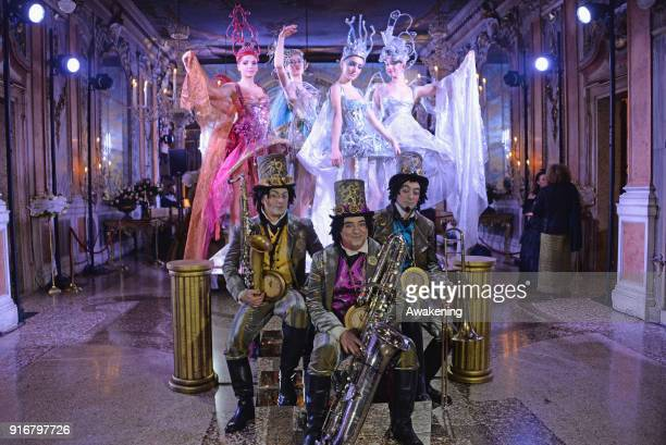 Musicians perform at Palazzo Pisani Moretta during the annual Ballo del Doge on February 10 2018 in Venice Italy The Ballo del Doge created by...