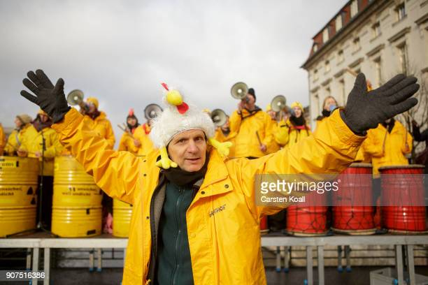 Musicians perform during a demonstration against the agroindustry on January 20 2018 in Berlin Germany Marchers whose protest is coinciding with the...