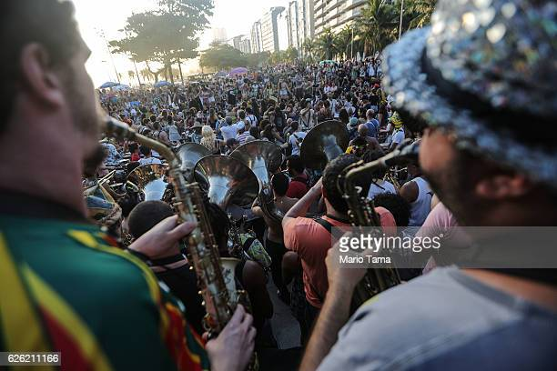Musicians perform during the 2016 Honk Rio Festival a celebration of brass bands on November 27 2016 in Rio de Janeiro Brazil The fourday festival...