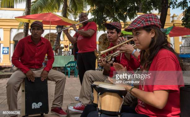 Musicians perform during the Jazz Festival in Santa Cruz de Mompox Department of Bolivar September 23 2017 the Colombian town on the banks of the...