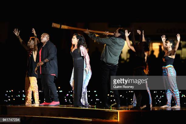 Musicians perform during the Opening Ceremony for the Gold Coast 2018 Commonwealth Games at Carrara Stadium on April 4 2018 on the Gold Coast...