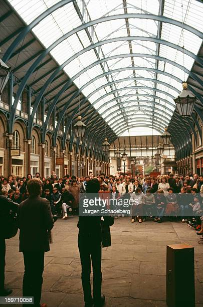 Musicians perform in Covent Garden market in London UK April 1981